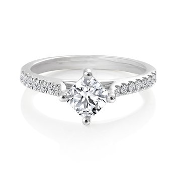 Compass Ideal Square Diamond Engagement Ring with Pavé Set Diamonds