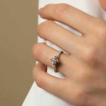 Compass Ideal Square Diamond Engagement Ring with Pave Set Diamonds