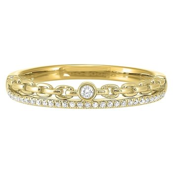 Diamond ¼ Eternity Cable Chain Stackable Split Band in 14k Yellow Gold (1/10 ctw)