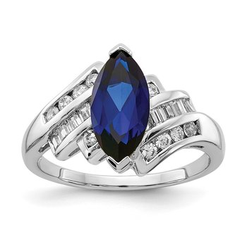 Sterling Silver Rhodium-plated Synthetic Blue Sapphire & CZ Marquise Ring