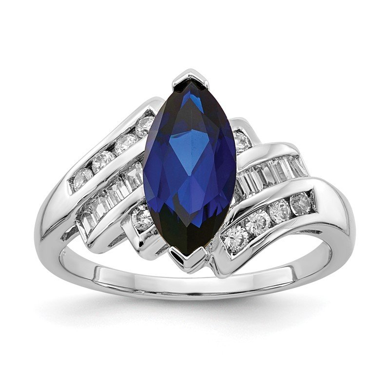 Quality Gold Sterling Silver Rhodium-plated Synthetic Blue Sapphire & CZ Marquise Ring