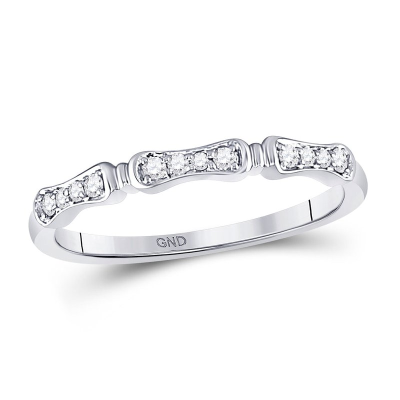 Gold-N-Diamonds, Inc. (Atlanta) 10kt White Gold Womens Round Diamond Stackable Band Ring 1/10 Cttw