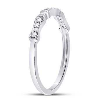10kt White Gold Womens Round Diamond Stackable Band Ring 1/10 Cttw
