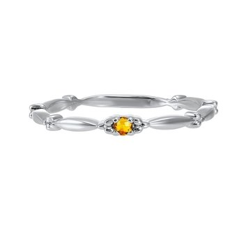 Citrine Solitaire Antique Style Slender Stackable Band in 10k White Gold