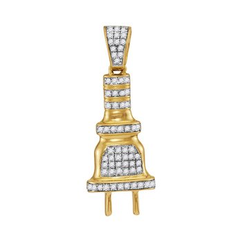 10kt Yellow Gold Mens Round Diamond Power Plug Charm Pendant 1/5 Cttw