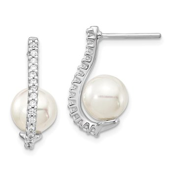 Sterling Silver Rhodium-plated CZ and Imitation Shell Pearl Earrings