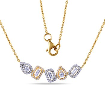 14K beautiful Necklace round & bag Diamonds 0.55C