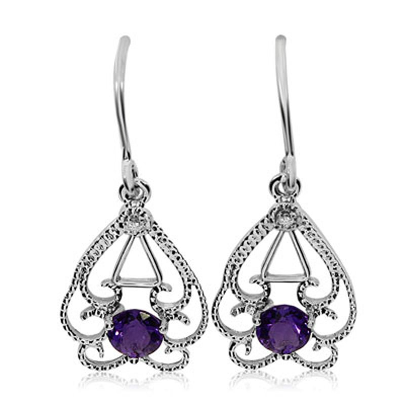 14k White Gold Round  Open Filigree Amethyst And Diamond Earrings