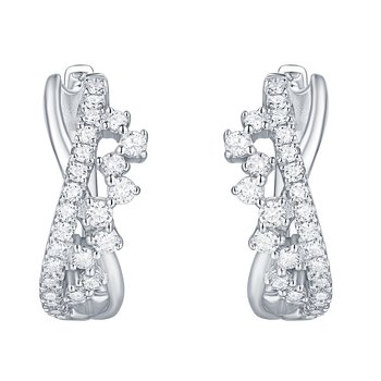 Smiling Rocks 0.53Ct G-H/VS1 Lab Grown Diamond Cross Over Hoop Earring