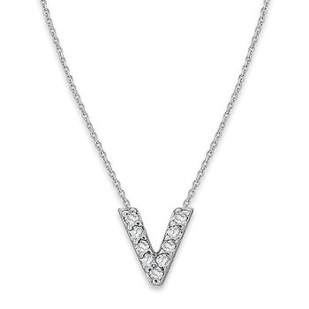"Diamond Baby Typewriter Initial ""V"" Necklace in 14k White Gold with 9 Diamonds weighing .05ct tw."