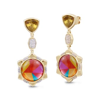 LuvMyJewelry Citrine & Vibrant Mosaic Girl on Fire Diamond Earrings in Sterling Silver & 14 KT Yellow Gold Plating