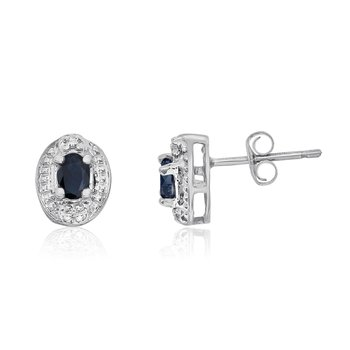 14k White Gold Sapphire Earrings with Diamonds