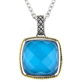 18kt and Sterling Silver Cushion Turquoise Pendant with Chain