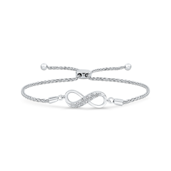 .05 ct Sterling Silver Diamond Bolo Bracelet