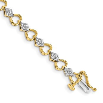 14k Diamond Heart Link Bracelet