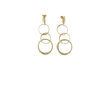 18Kt Gold 3 Circle Earrings