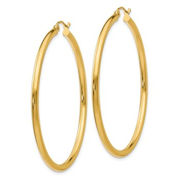 14K Polished 2.5mm Tube Hoop Earrings