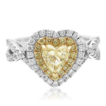 Double Halo Heartshaped Diamond Ring