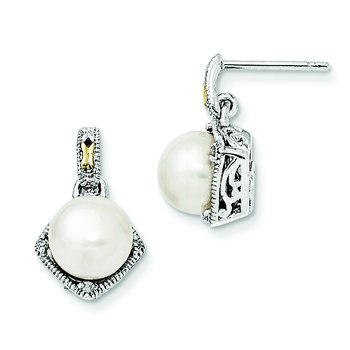 Sterling Silver w/14k FW Cultured Pearl Diamond Post Earrings
