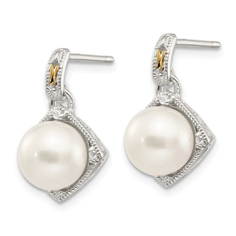 Shey Couture Sterling Silver w/14k FW Cultured Pearl Diamond Post Earrings