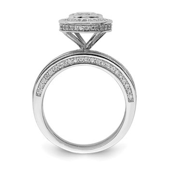 Sterling Silver Rhodium-plated CZ Round Cut 3 Piece Set Ring