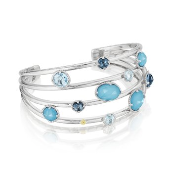 Floating Gem Cuff featuring Assorted Gemstones