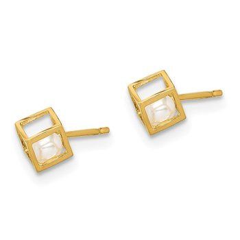 14K Madi K White Freshwater Cultured Pearl Square Post Earrings
