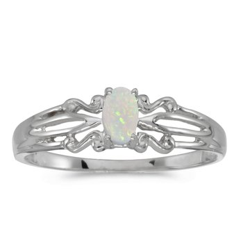14k White Gold Oval Opal Ring