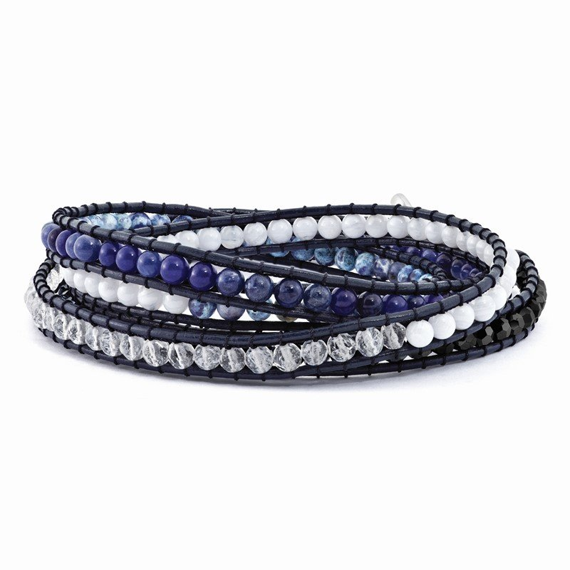 Quality Gold Blue Agate/Crystal/Sodalite/Leather Multi-wrap Bracelet