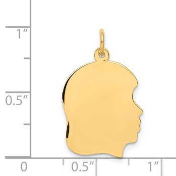 14k Plain Medium .027 Gauge Facing Right Engravable Girl Head Charm