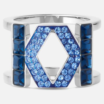 Karl Lagerfeld Logo Ring, Blue, Palladium plated