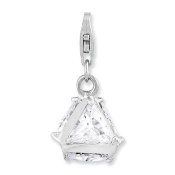 Sterling Silver Rhodium plated 3-D CZ w/Lobster Clasp Charm