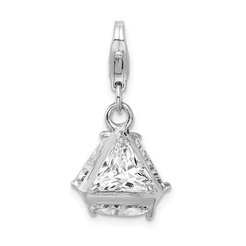 Quality Gold Sterling Silver Rhodium plated 3-D CZ w/Lobster Clasp Charm