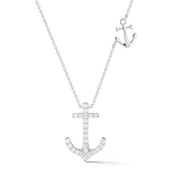 "Diamond Anchor Necklace 0.25C Diamonds in 14KW Gold 1/2"" wide bby 1/2"" long"