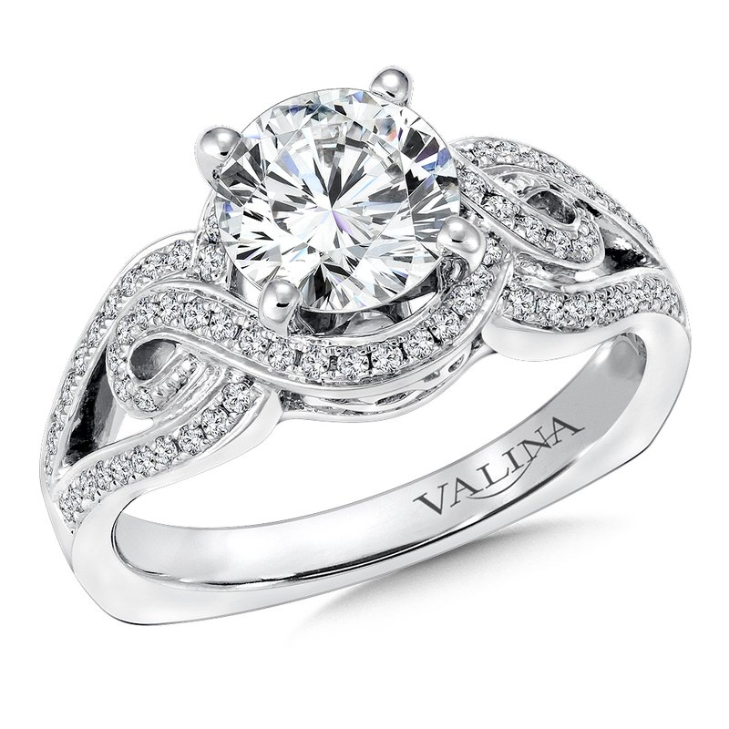 Valina Bridals Mounting with side stones .29 ct. tw., 1 1/4 ct. round center.