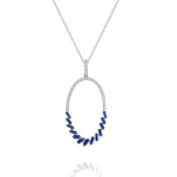 Sapphire & Diamond Oval Hoop Pendant Set in 14 Kt. Gold