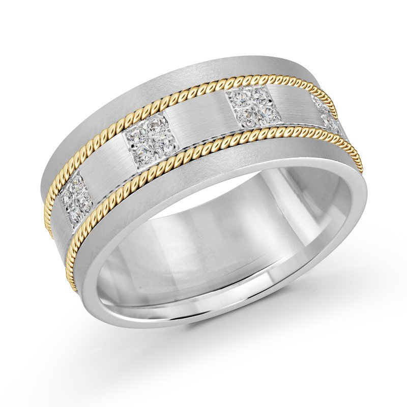 Mardini 10mm two-tone white and yellow gold brick motif band, embelished with 16X0.015CT diamonds