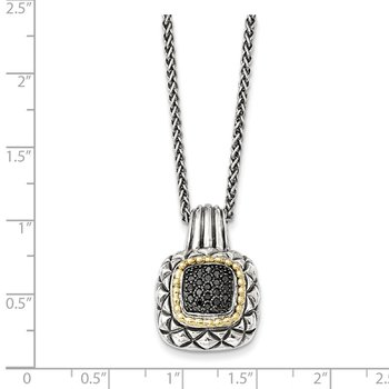Sterling Silver w/14k Black Diamond Necklace