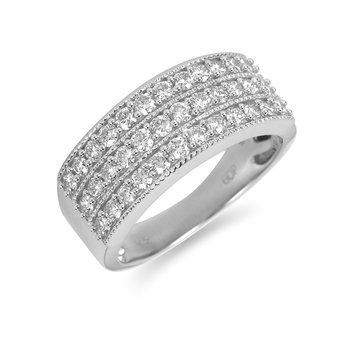 14K WG Diamond Milgrain Edged 3-Row Wedding Band