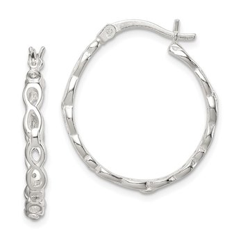 Sterling Silver Infinity Design CZ Hoop Earrings