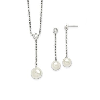 Sterling S Majestik Rh-pl 10-12mm Wht Imitat Shell Pearl & CZ Ear & Neck Se