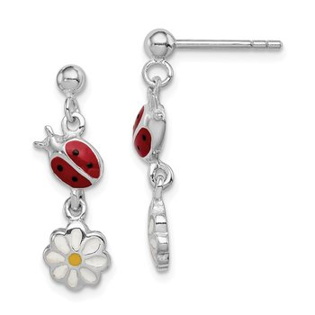 Sterling Silver Rhodium Plated Child Enamel Ladybug/Daisy Earrings