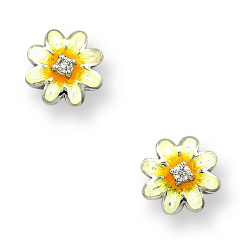 White Daisy Stud Earrings.Sterling Silver-White Sapphires