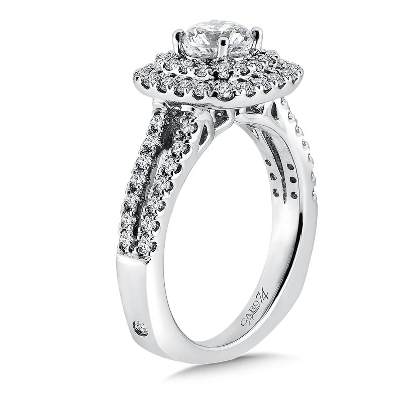 Caro74 Luxury Collection Halo Engagement Ring with Split Shank in 14K White Gold (3/4ct. tw.)