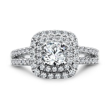 Luxury Collection Halo Engagement Ring with Split Shank in 14K White Gold (3/4ct. tw.)
