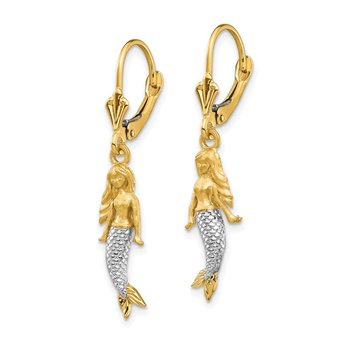 14K and White Rhodium Brushed & Polished Mermaid Earrings