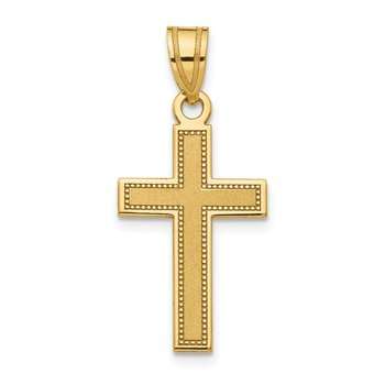 14K Small Satin Cross Pendant
