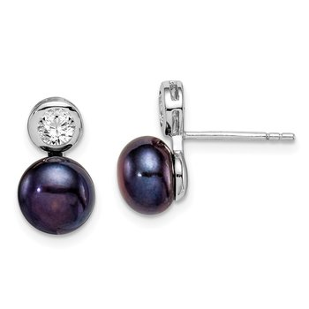 Sterling Silver Rhodium-plated 7-8mm Black Button FWC Pearl CZ Earrings