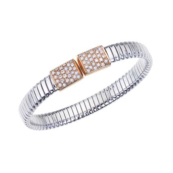Two-Tone Open Bangle with Diamonds