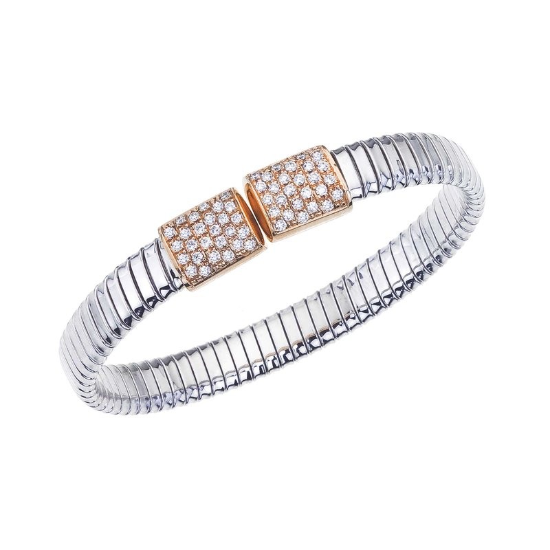 DA Gold Two-Tone Open Bangle with Diamonds